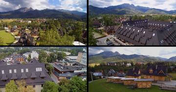 Dronu filmuotas GERARD stogų, esančių Lenkijos Tatrų kalnų papėdėje Zakopnėje, vaizdo įrašas